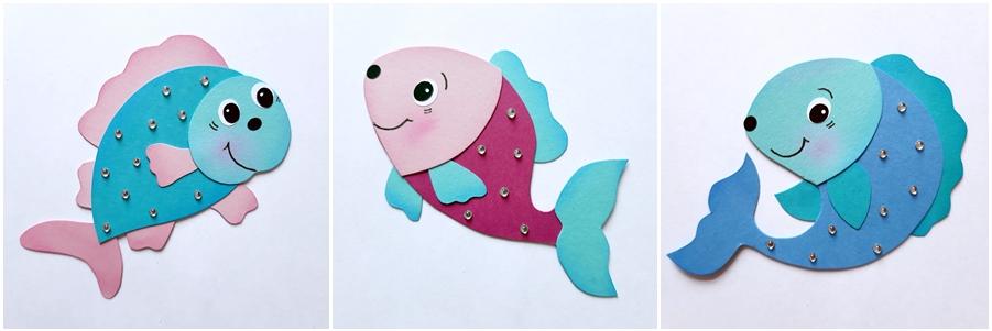 3 Fische aus Bastelpapier in bunten Farben