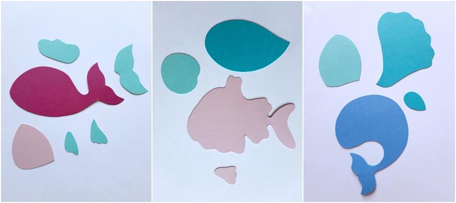 Einzelteile von Seetieren aus Bastelpapier