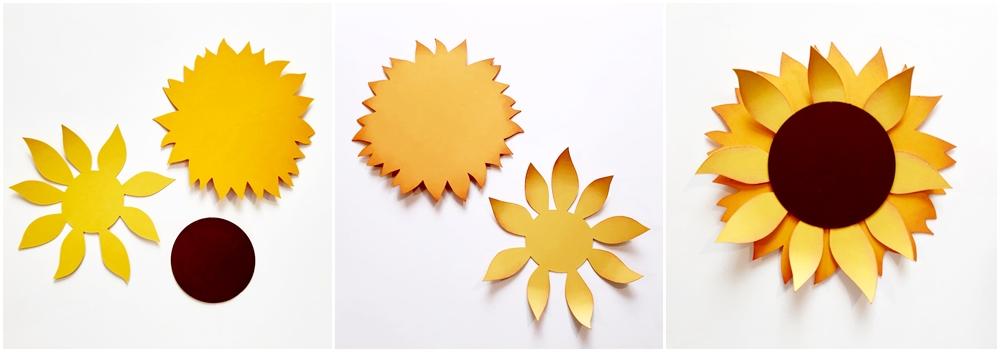 Eine Sonnenblume aus Bastelpapier