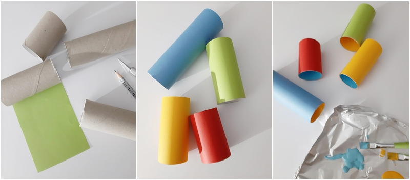 Papprollen werden zum Behälter für Stifte bemalt und beklebt