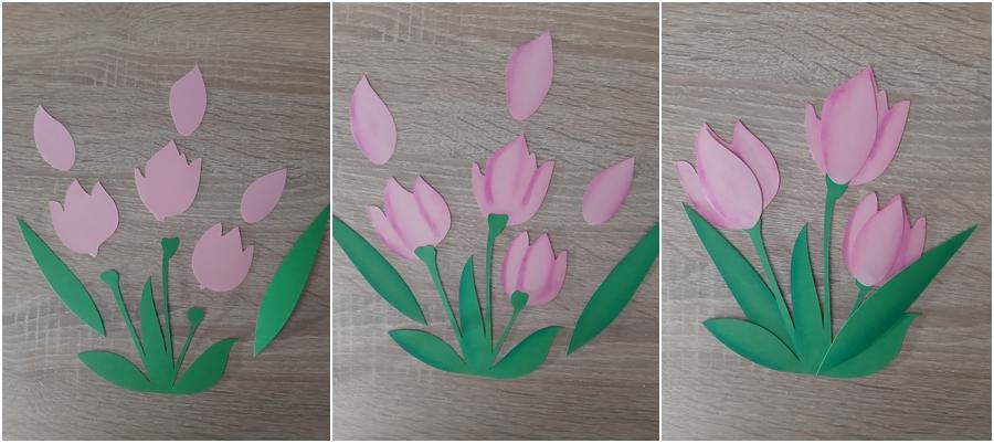 Ein Tulpenstrauß in rosa, in 3 Schritten erklärt.