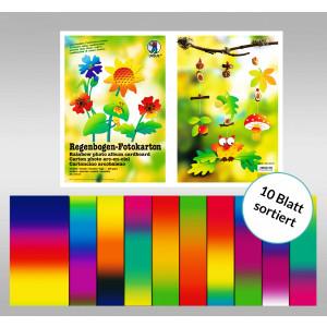 Regenbogen-Fotokarton, 23x33 cm, 10 Blatt sortiert