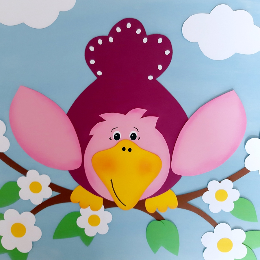 Vogel aus Papier in rosa