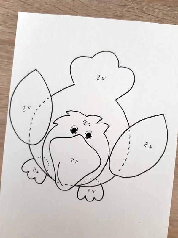 Vorlagebogen Vogel auf einem Zweig