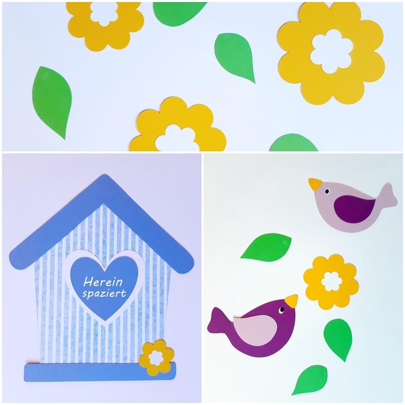 Türschild Vogelhaus mit sommerlichen Blumen