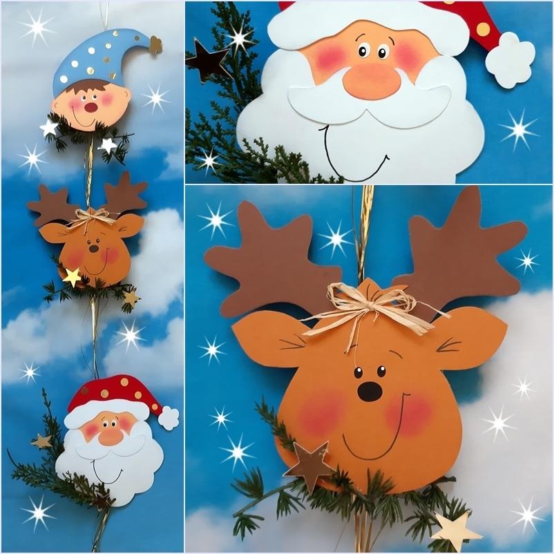 Wichtel, Weihnachtsmann und Rentier als Motivkette aus Papier.