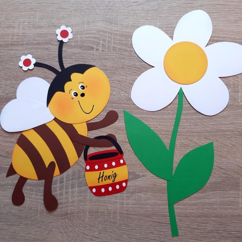 Biene mit Honigtopf und eine Blume aus Papier