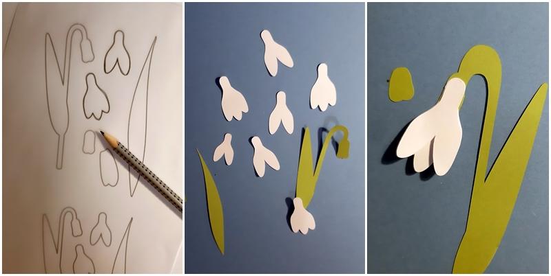 Schneeglöckchen ivom Vorlagebogen bis zur fertigen Blüte.