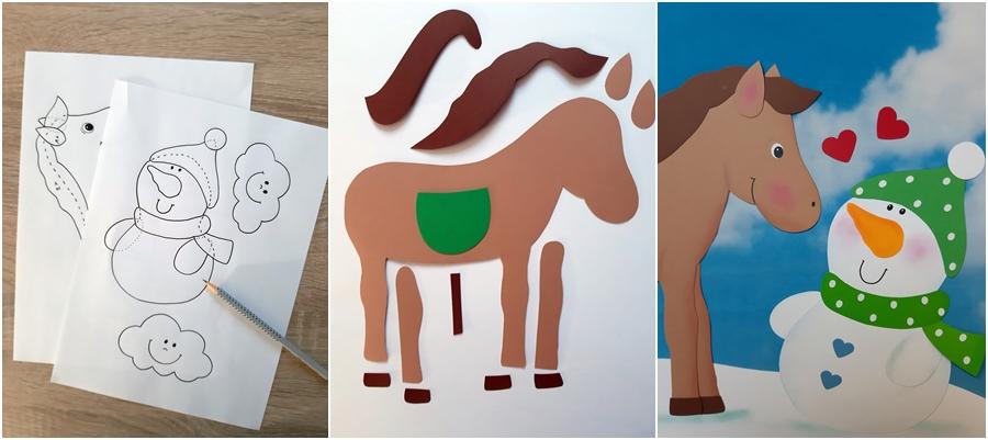 Fensterbild Pferdeliebe aus Papier, step-by-step erklärt.
