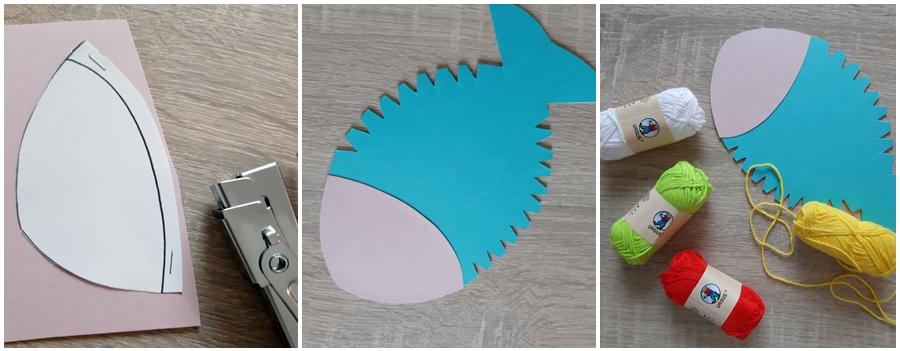 Ein Fisch aus Bastelpapier in blau