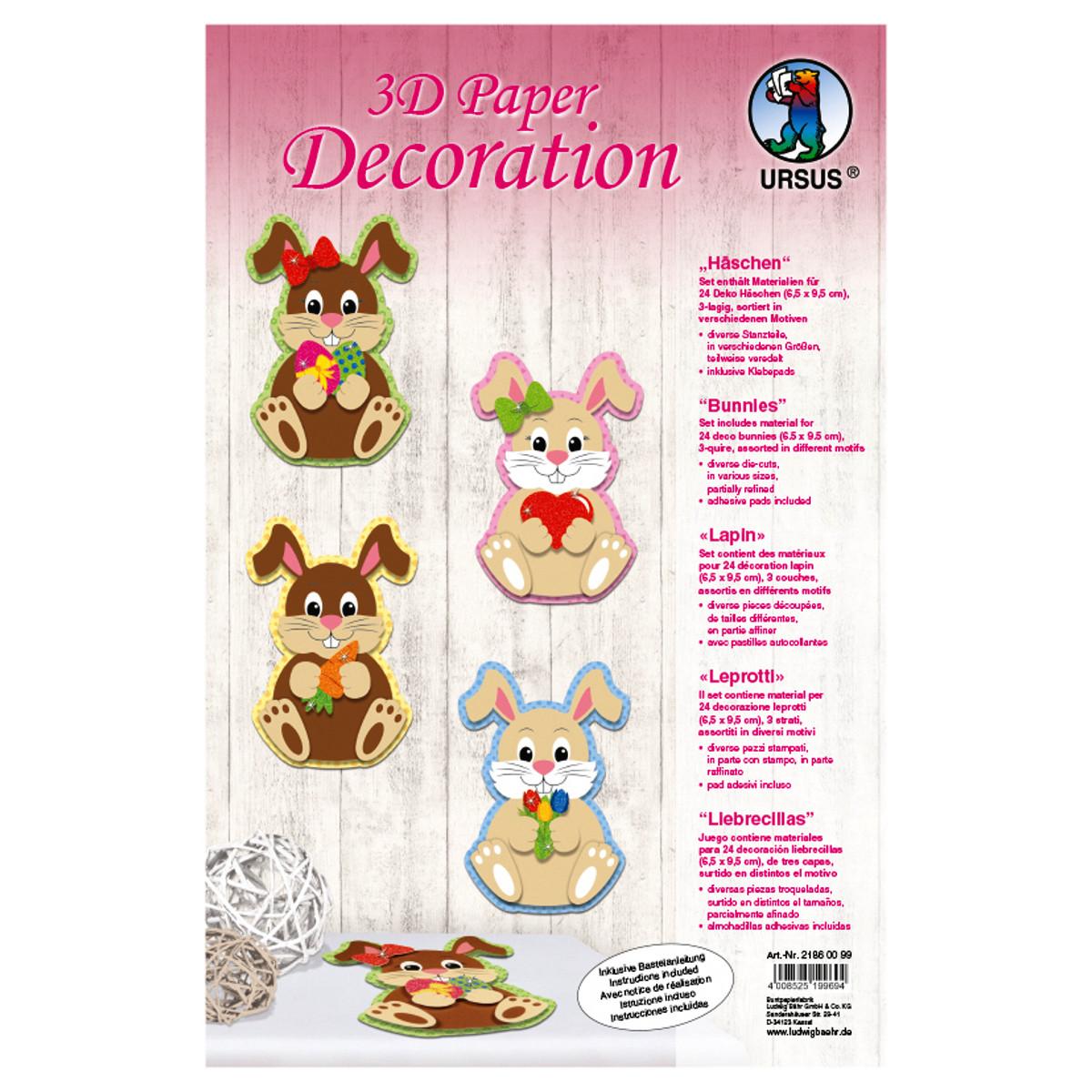 """3D Paper Decoration """"Häschen"""""""