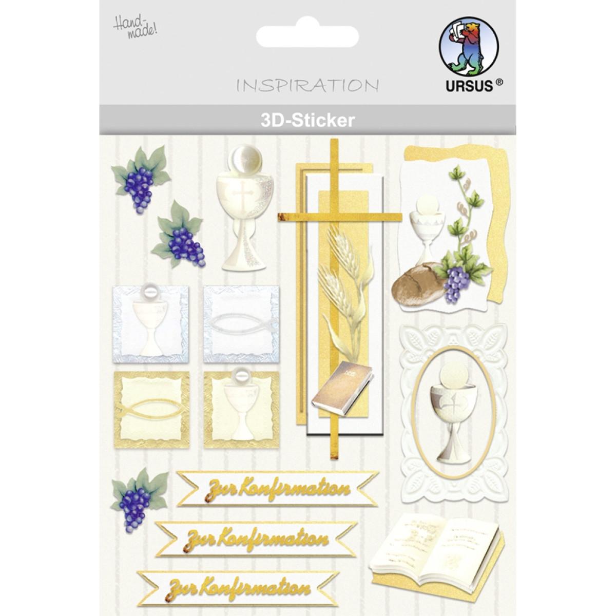 """3D-Sticker """"Christliche Symbole"""" Konfirmation"""