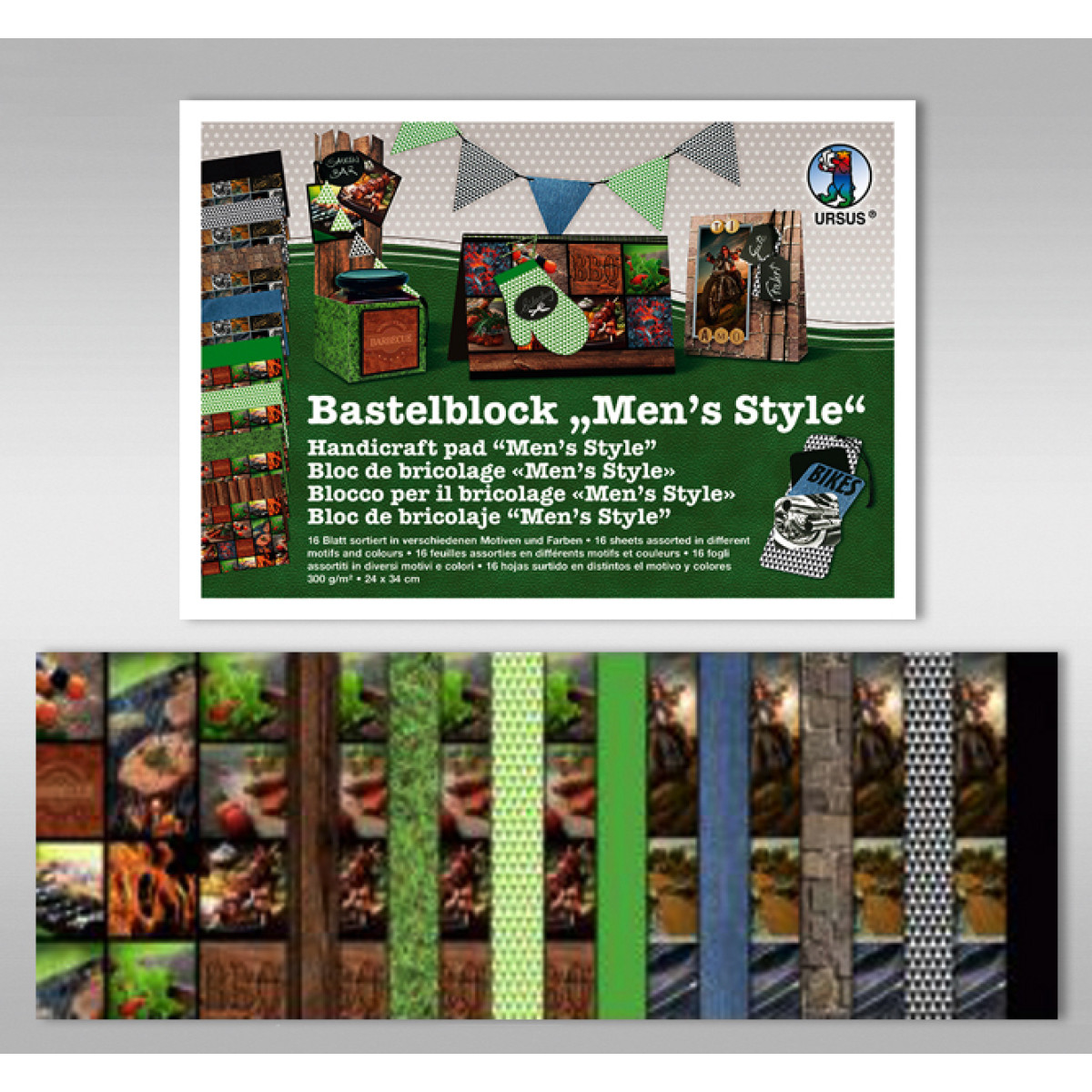 """Bastelblock """"Men's Style"""" 24 x 34 cm - 16 Blatt"""