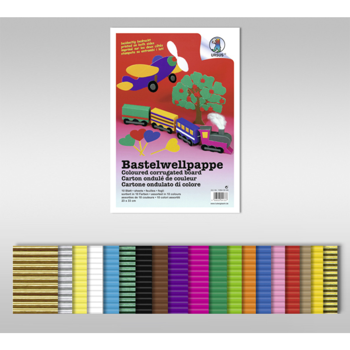 Bastelwellpappe 260 g/qm 50 x 70 cm Normalfarben - 10 Bogen