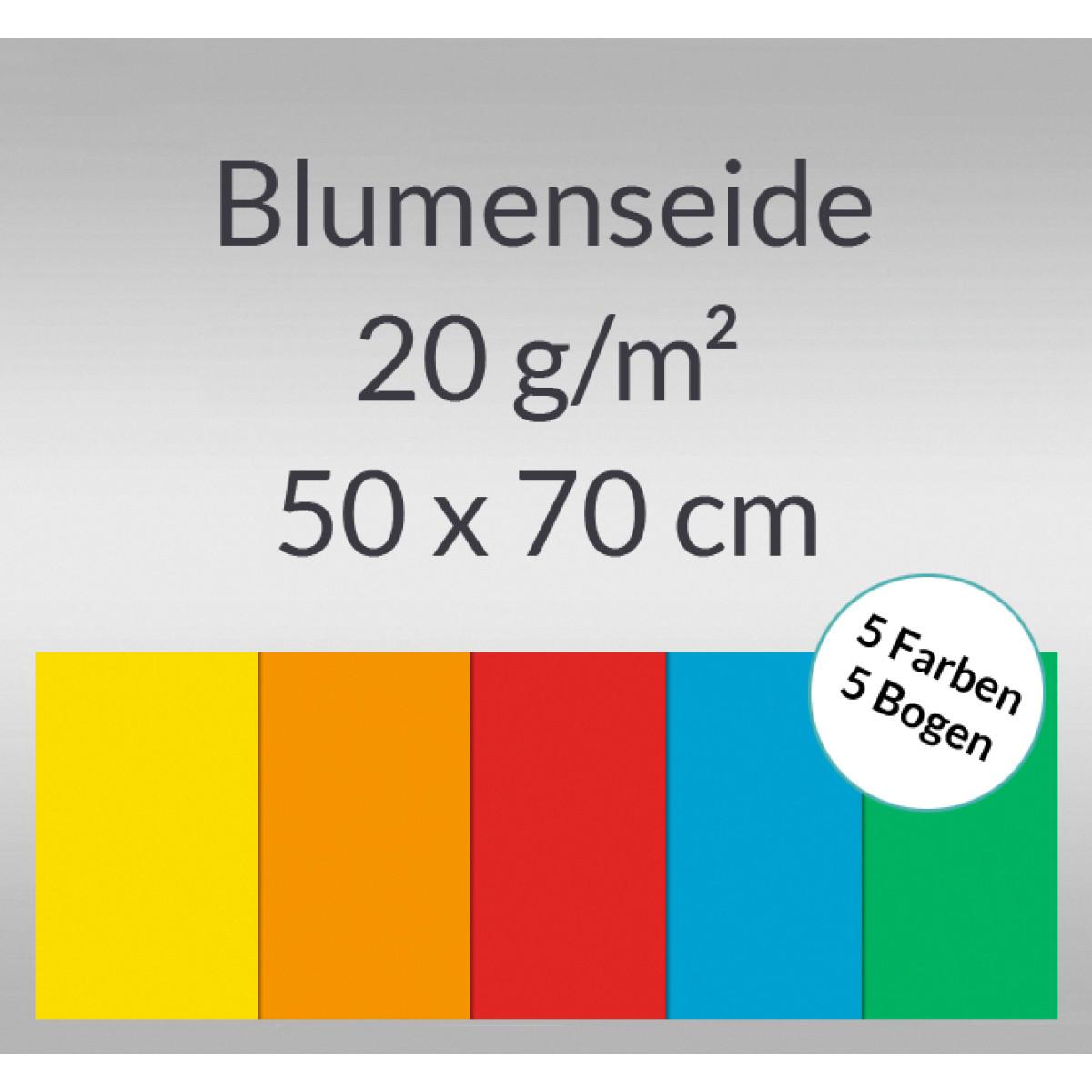 """Blumenseiden 20 g/qm 50 x 70 cm """"Sortierung 1"""" - 5 Bogen"""