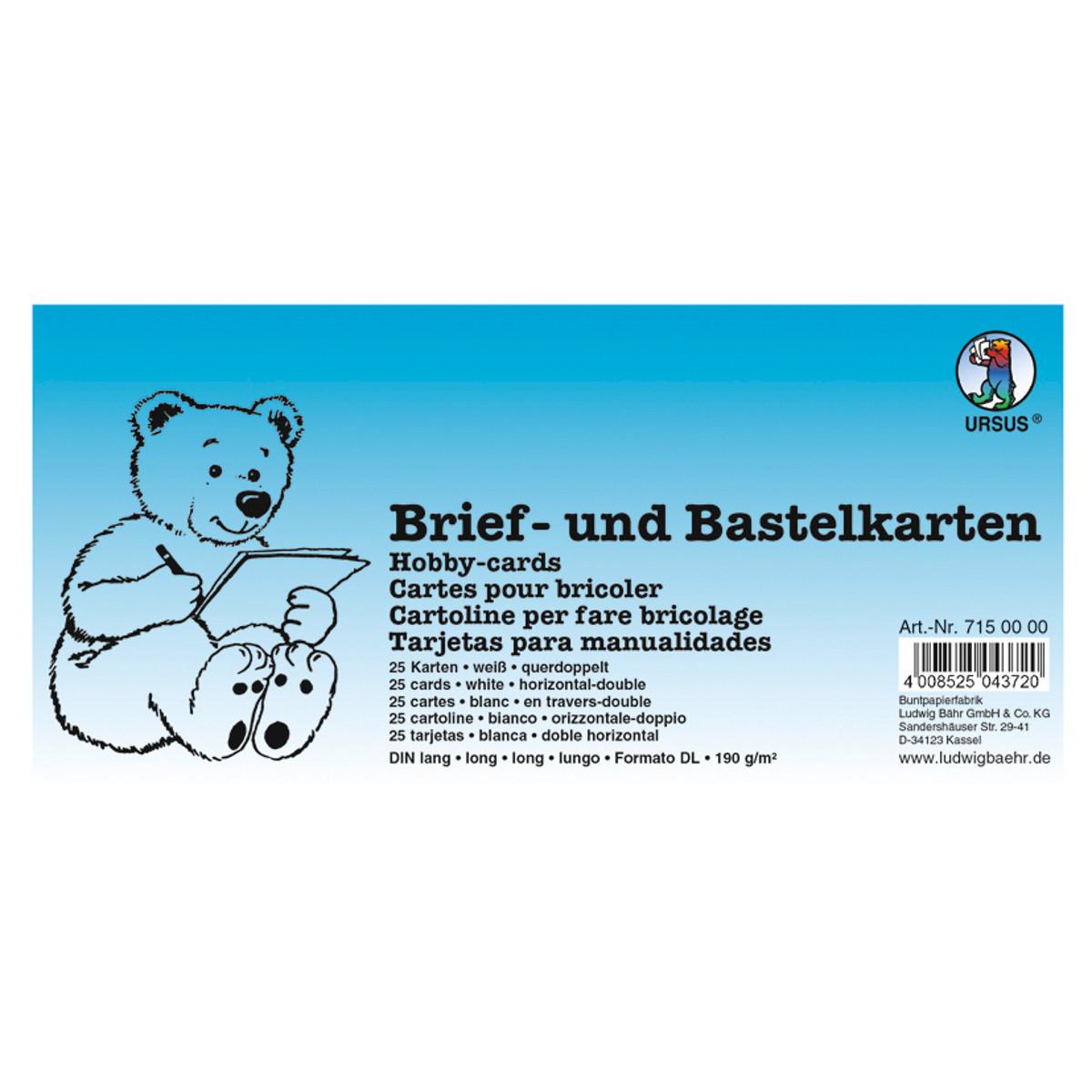 Brief- und Bastelkarten DIN lang querdoppelt weiß - 100 Karten