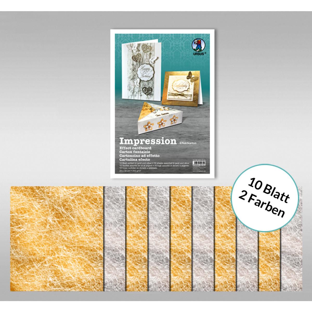 "Designkarton ""Impression"" 23 x 33 cm gold/silber - 10 Blatt sortiert"