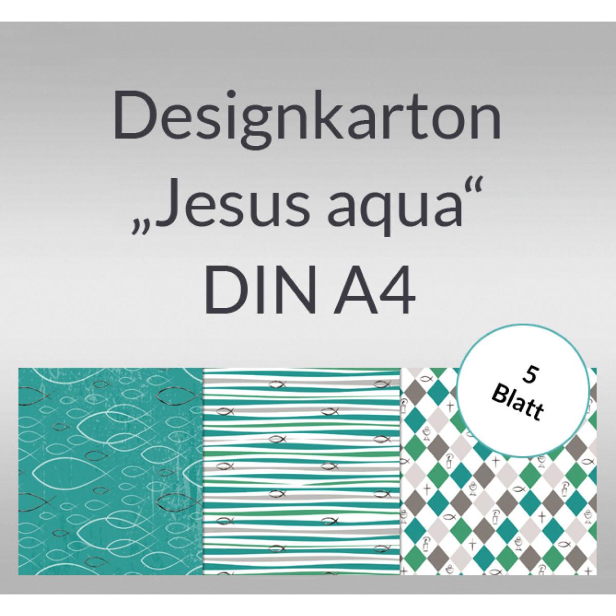 """Designkarton """"Jesus aqua"""" DIN A4 - 5 Blatt"""
