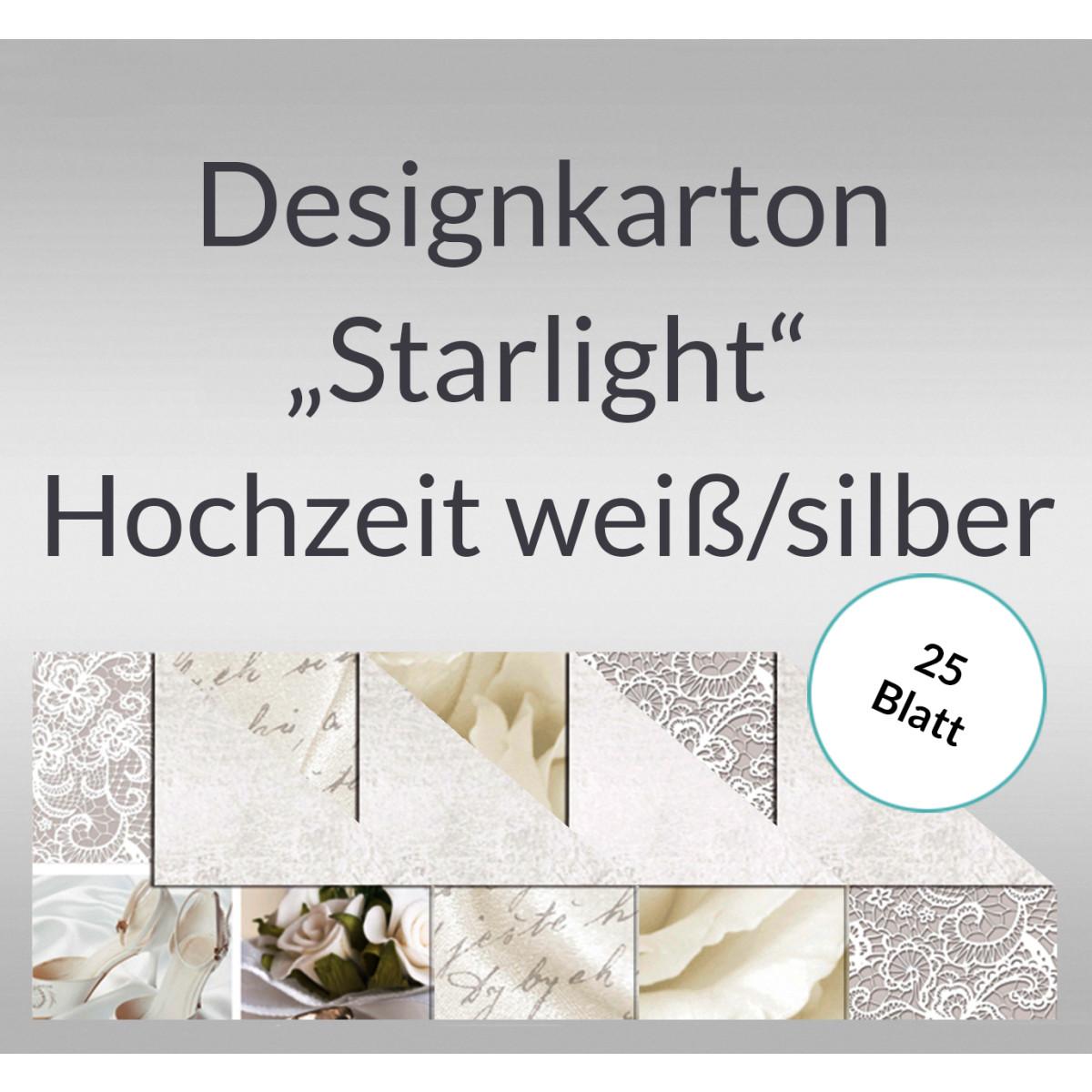 "Designkarton ""Starlight"" Hochzeit weiß/silber DIN A4 - 25 Blatt"
