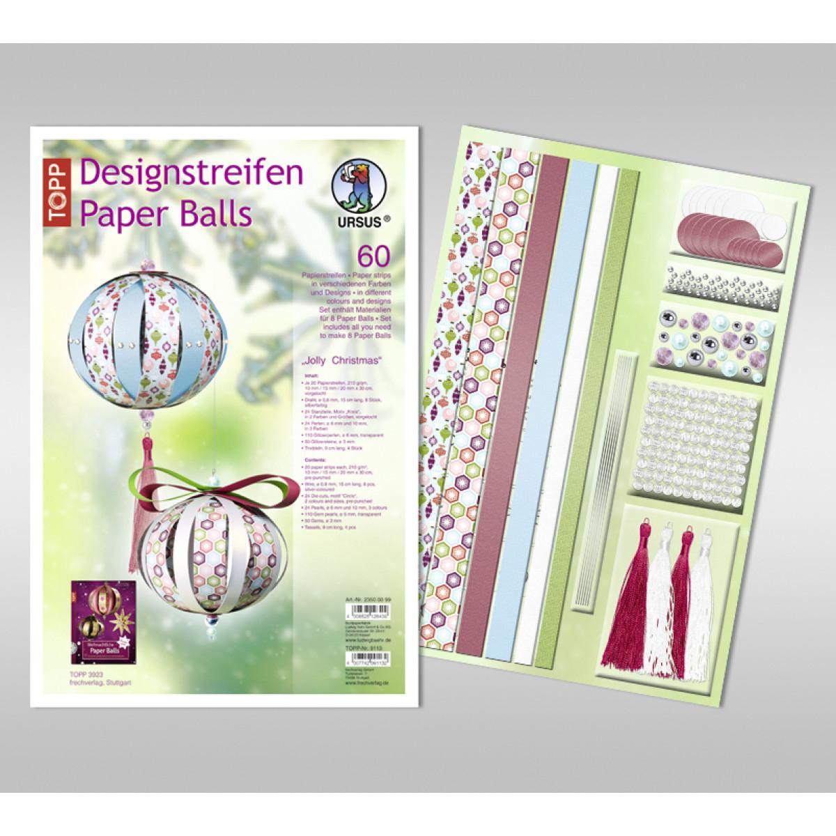 "Designstreifen Paper Balls ""Jolly Christmas"""