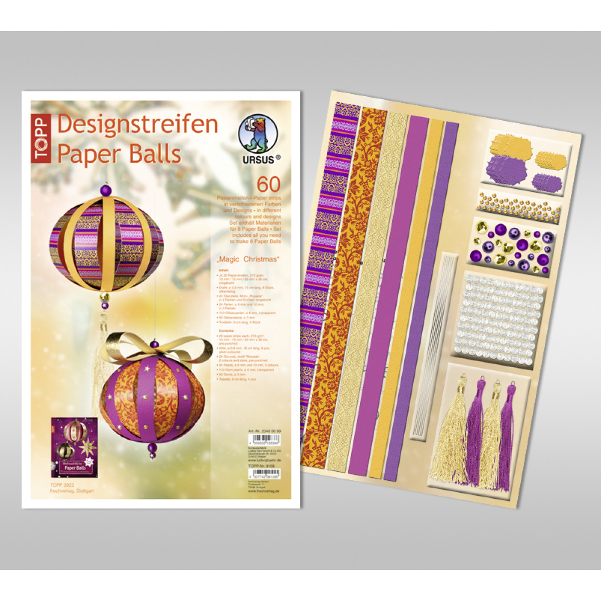 "Designstreifen Paper Balls ""Magic Christmas"""