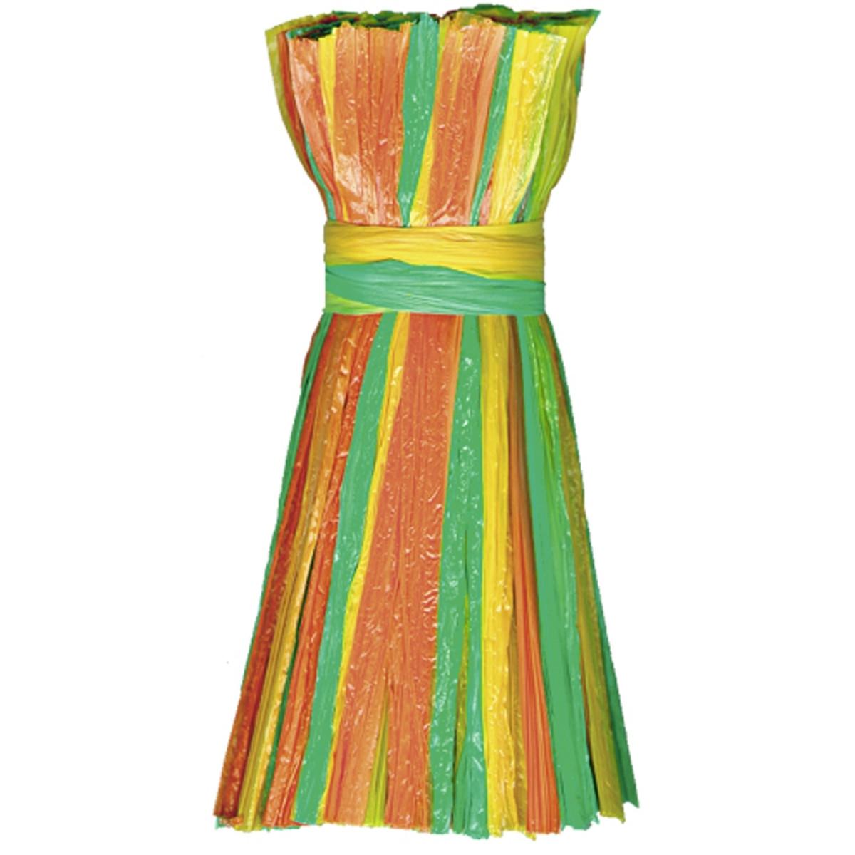 "Edelbast matt ""multicolor"" grün/gelb/orange - 30 Meter"