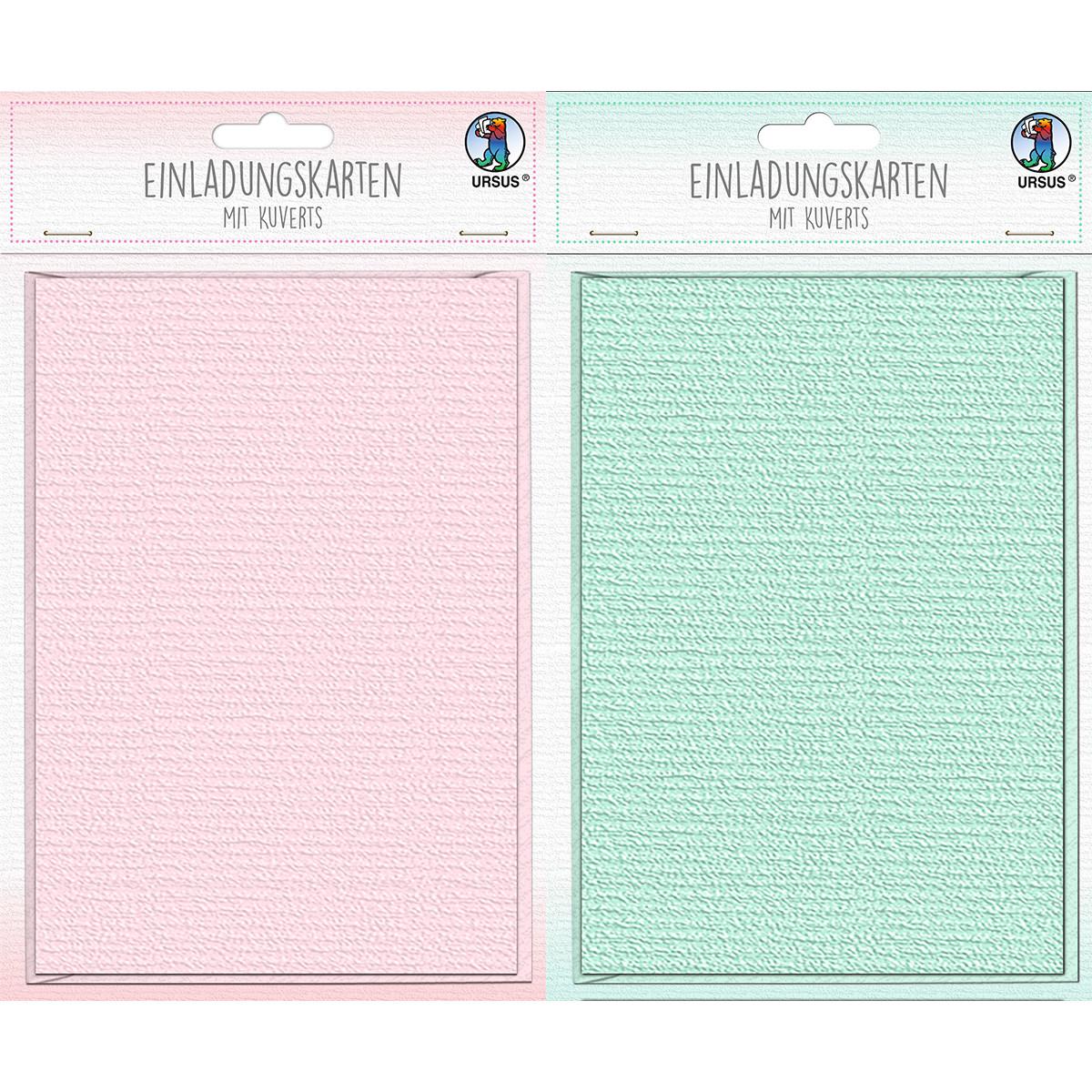 Einladungskarten rosa oder mint, 6 Karten 200g/qm, gefaltete 11,9 x 17 cm und 6 Kuverts 100 g/qm Grö