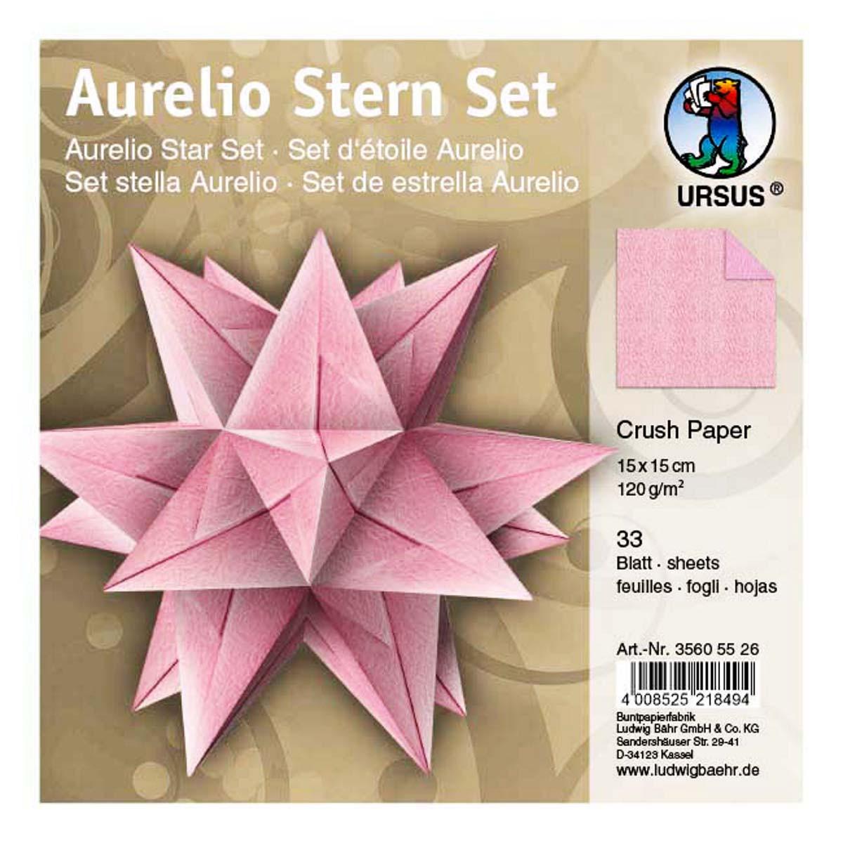 Faltblätter Aurelio Stern Crush Paper Rosa 15 X 15 Cm Buntpapierwelt