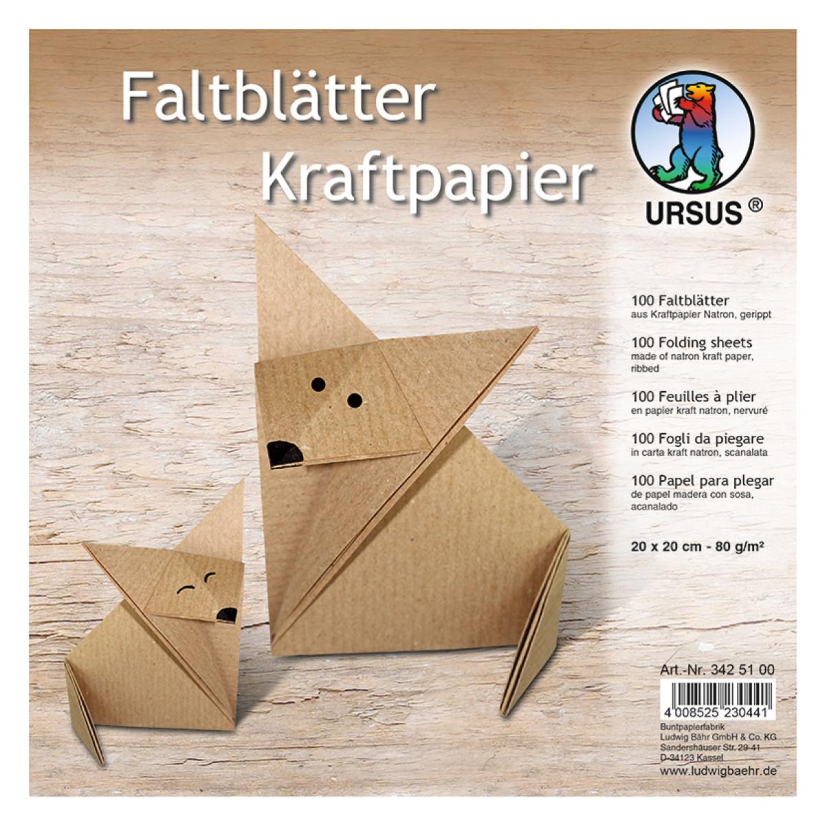 """Faltblätter """"Kraftpapier"""" 20 x 20 cm - 100 Blatt"""