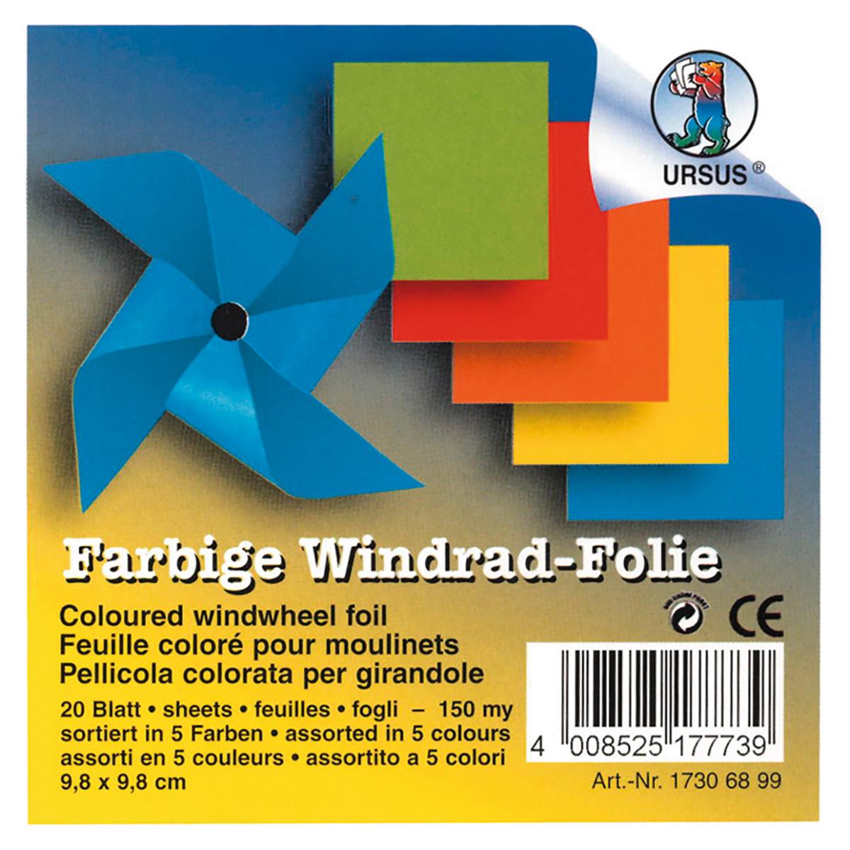 Farbige Windrad-Folie, 9,8 x 9,8 cm - 20 Blatt