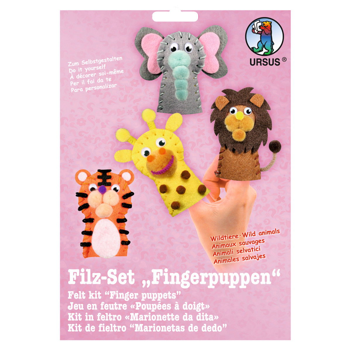 filz set fingerpuppen wildtiere buntpapierwelt. Black Bedroom Furniture Sets. Home Design Ideas