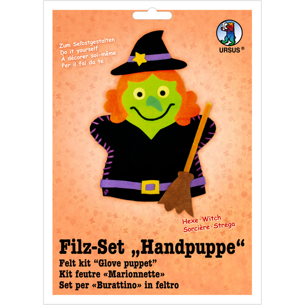 """Filz-Set """"Handpuppe"""" Hexe"""