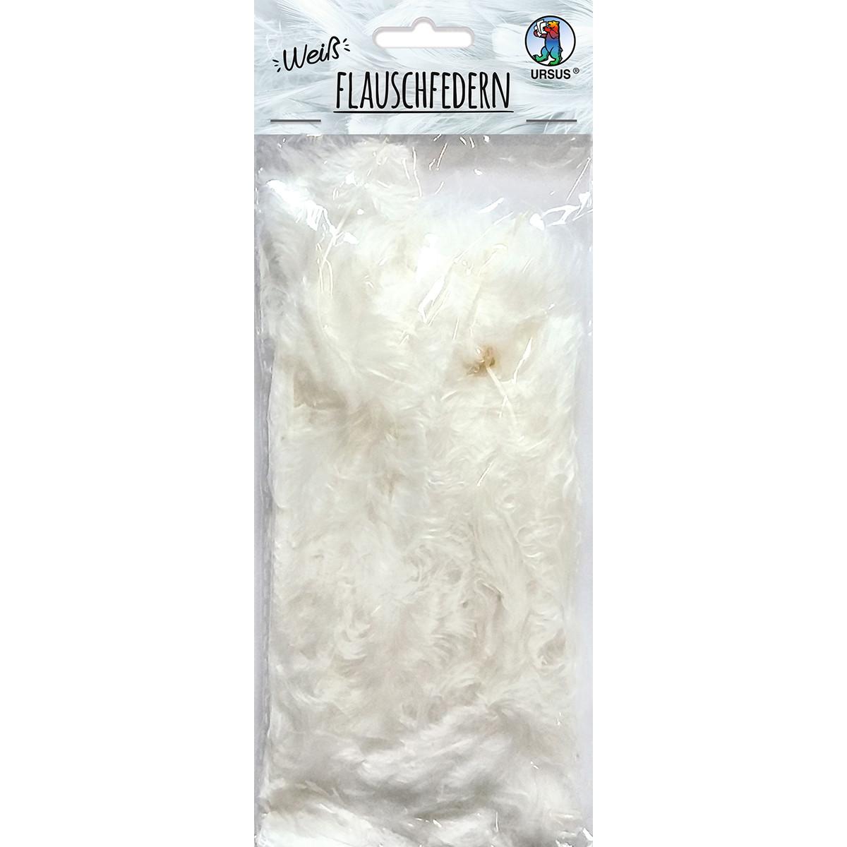 Flauschfedern, 10 Gr. in weiß