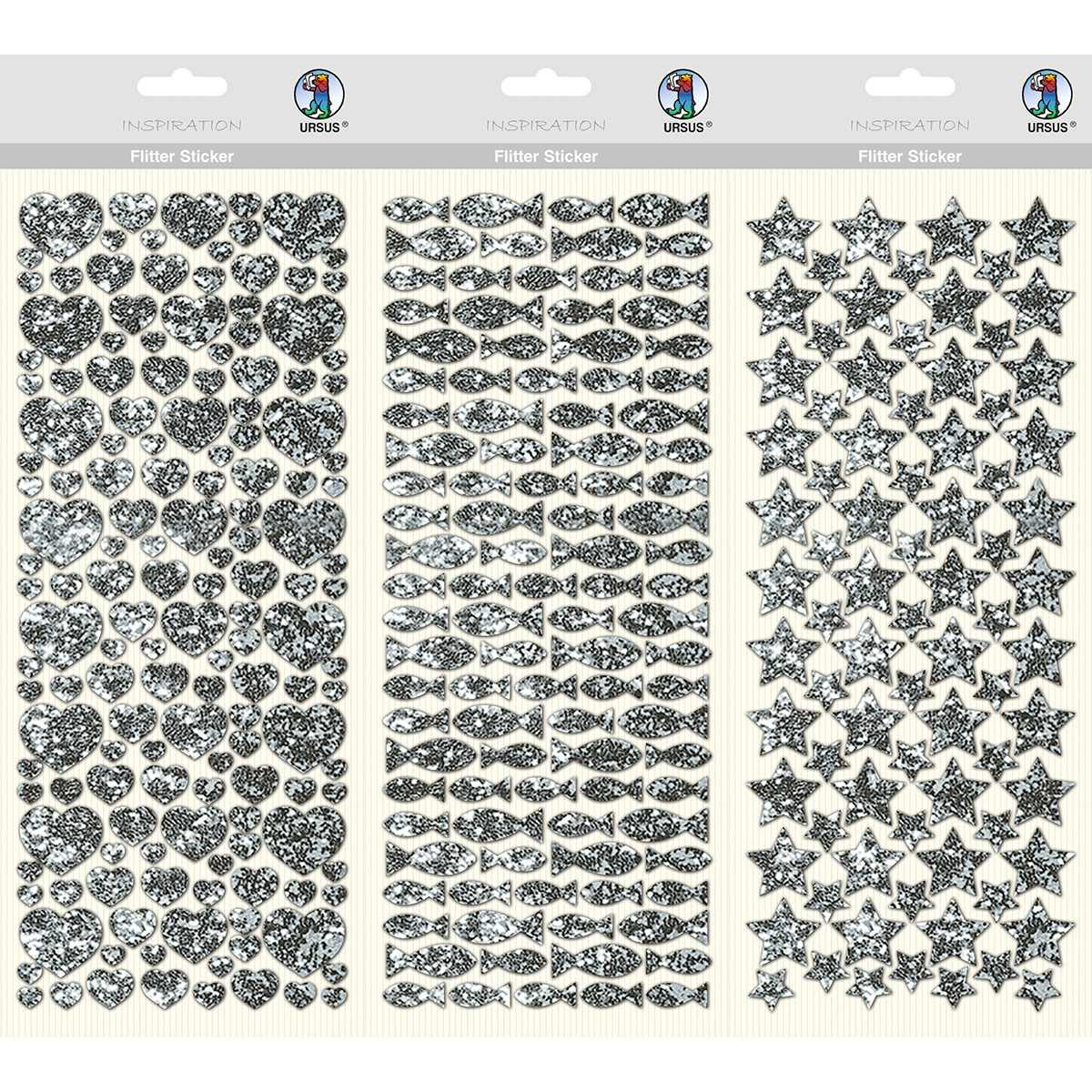 Flitter Sticker, 1 Blatt Folienstoff-Sticker, ca. 12 x 29 cm, selbstklebend, silber