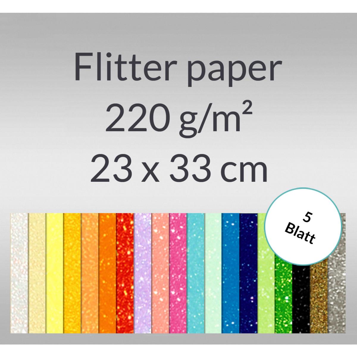 Flitterpapier 23 x 33 cm - 5 Blatt