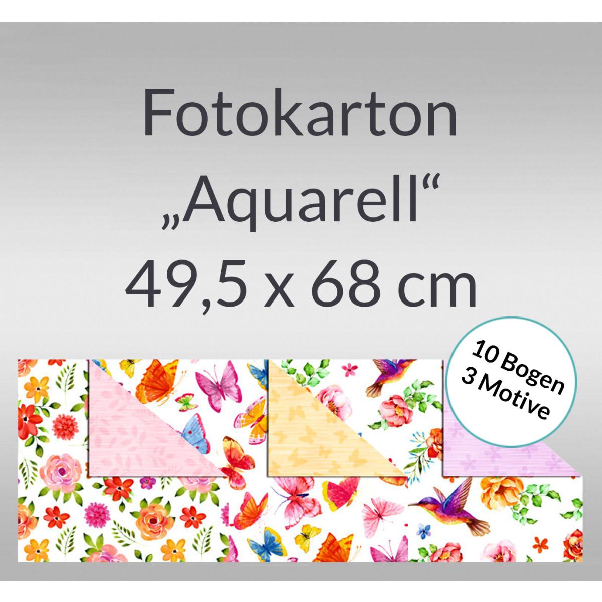 "Fotokarton ""Aquarell"" 49,5 x 68 cm - 10 Bogen sortiert"