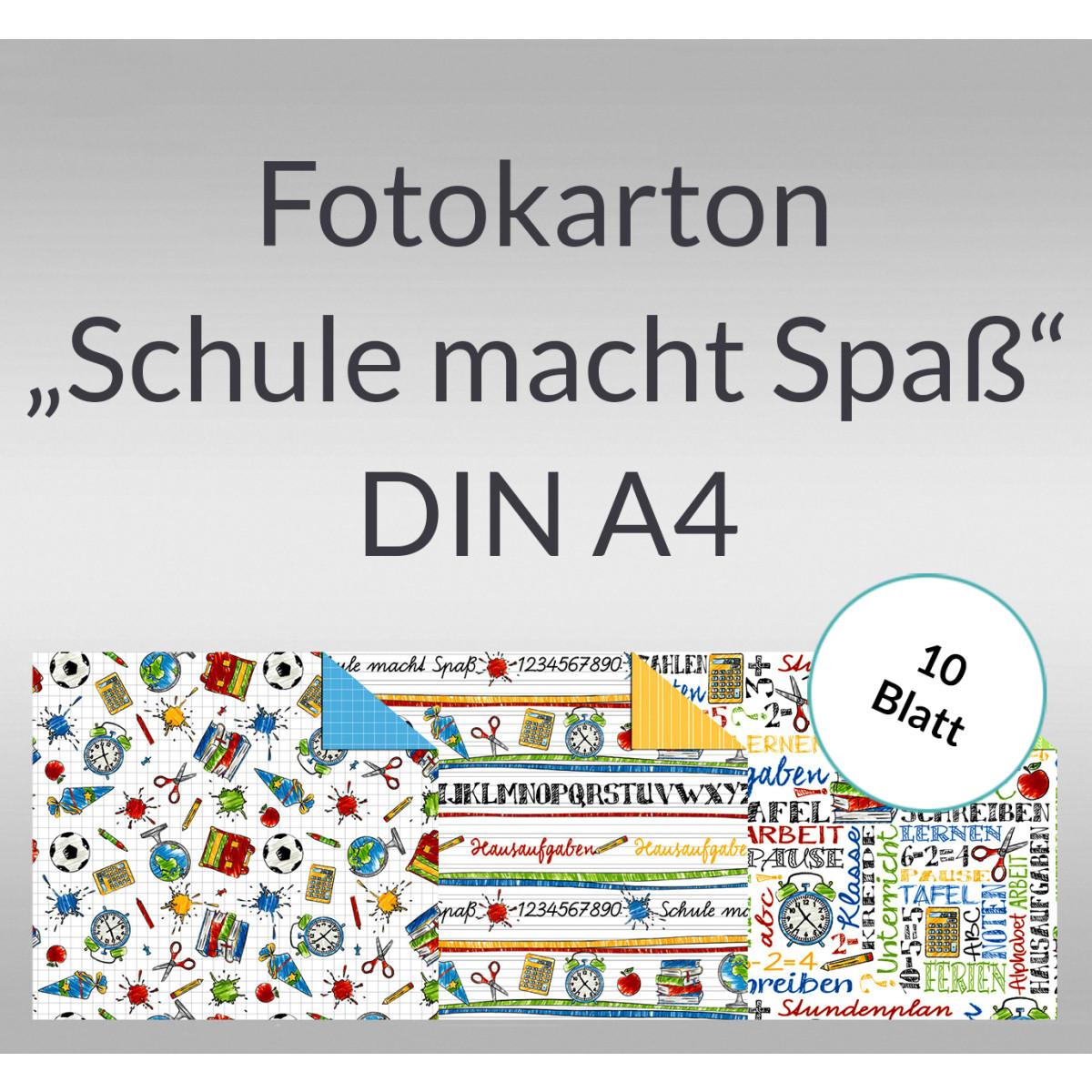 """Fotokarton """"Schule macht Spass"""" DIN A4 - 10 Blatt"""