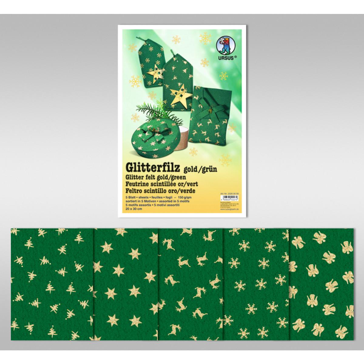 "Glitter-Filz ""gold"" 20 x 30 cm grün - 5 Blatt"