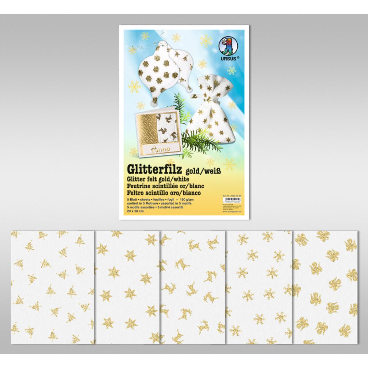 """Glitter-Filz """"gold"""" 20 x 30 cm weiß - 5 Blatt"""