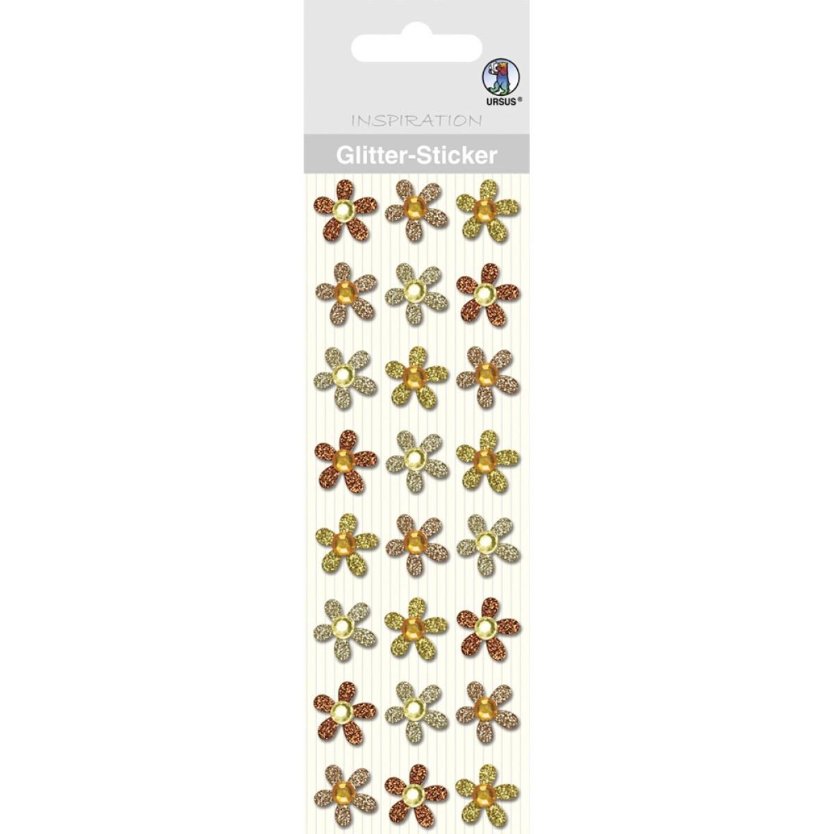 """Glitter Sticker """"Blüten"""" bernstein/sand"""
