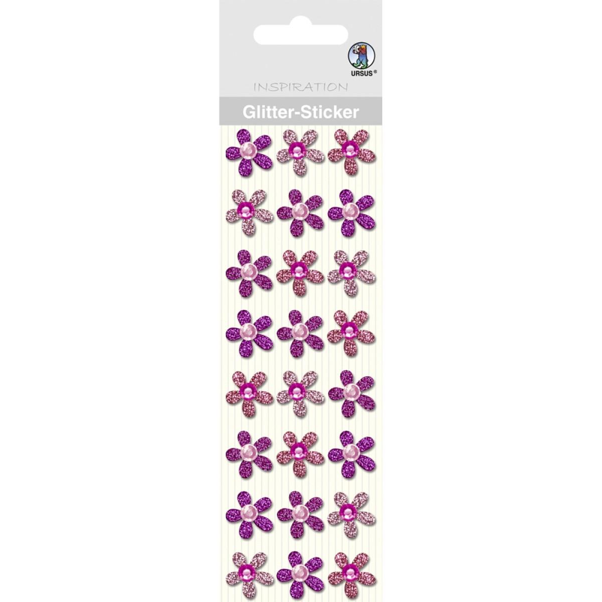 "Glitter Sticker ""Blüten"" rosa"