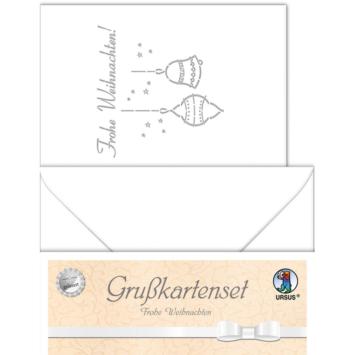 """Grußkarten """"gelasert"""" Frohe Weihnachten weiß - 5 Karten"""