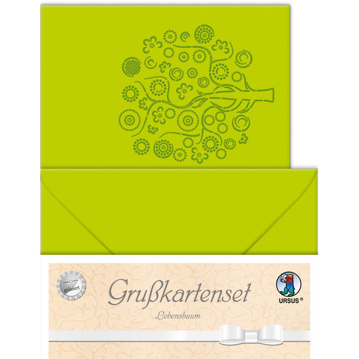 """Grußkarten """"gelasert"""" Lebensbaum hellgrün - 5 Karten"""