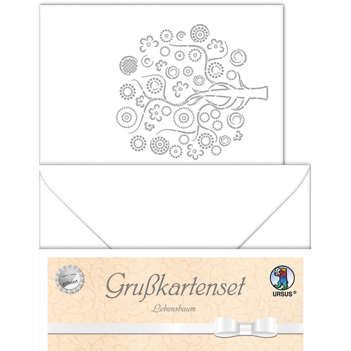 """Grußkarten """"gelasert"""" Lebensbaum weiß - 5 Karten"""