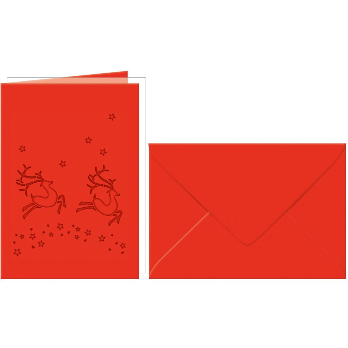 """Grußkarten """"gelasert"""" Rentier rubinrot - 5 Karten"""