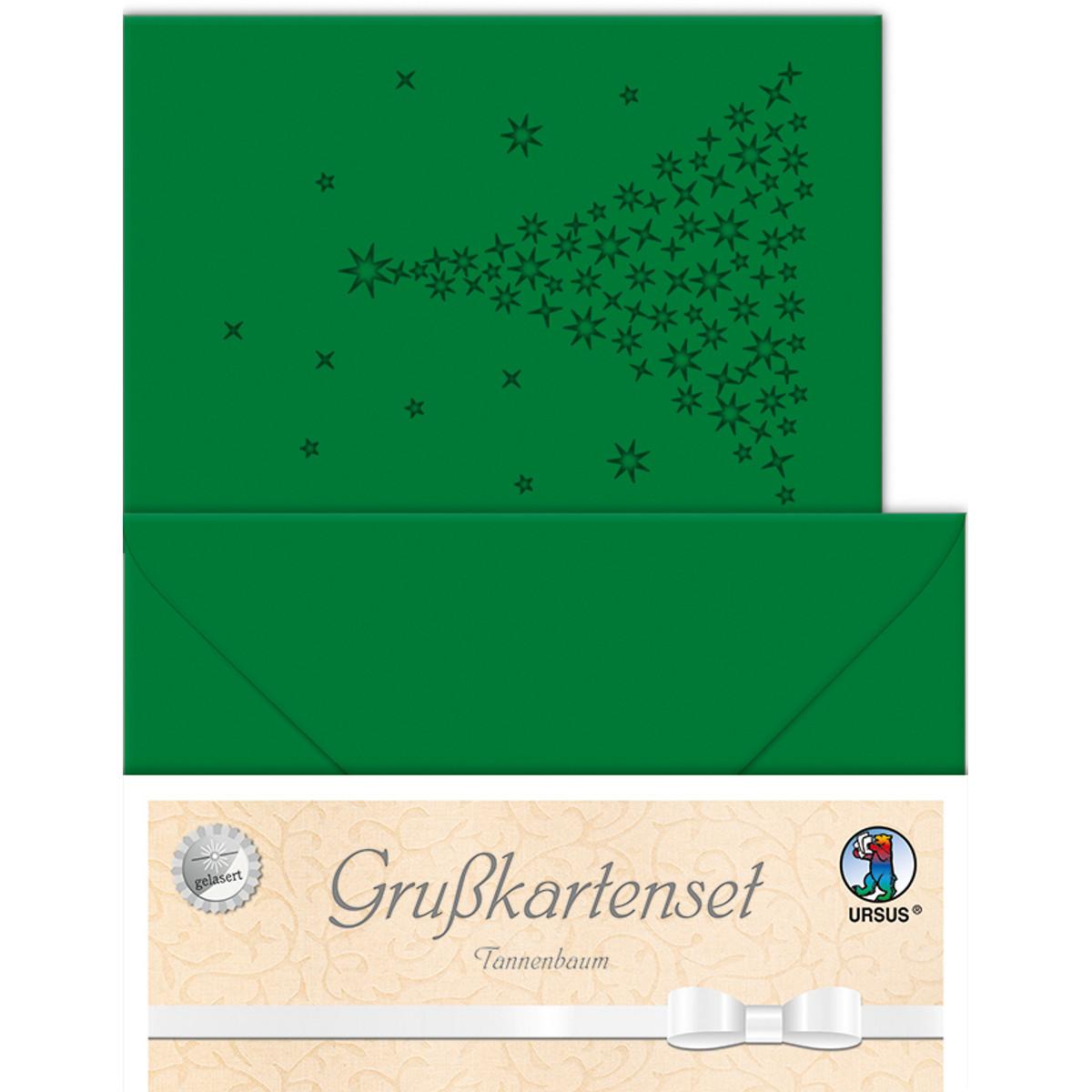 """Grußkarten """"gelasert"""" Tannenbaum tannengrün - 5 Karten"""