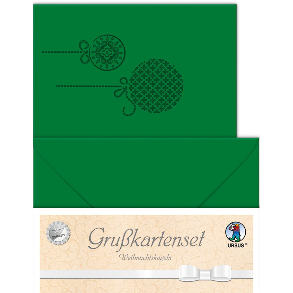 """Grußkarten """"gelasert"""" Weihnachtskugeln tannengrün - 5 Karten"""