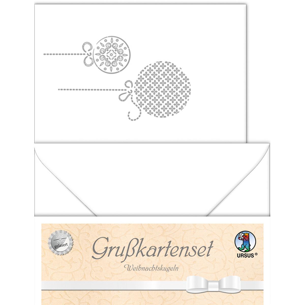 """Grußkarten """"gelasert"""" Weihnachtskugeln weiß - 5 Karten"""