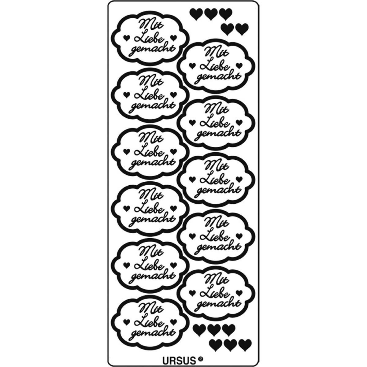 """Kreativ Sticker """"mit Liebe gemacht"""" silber"""