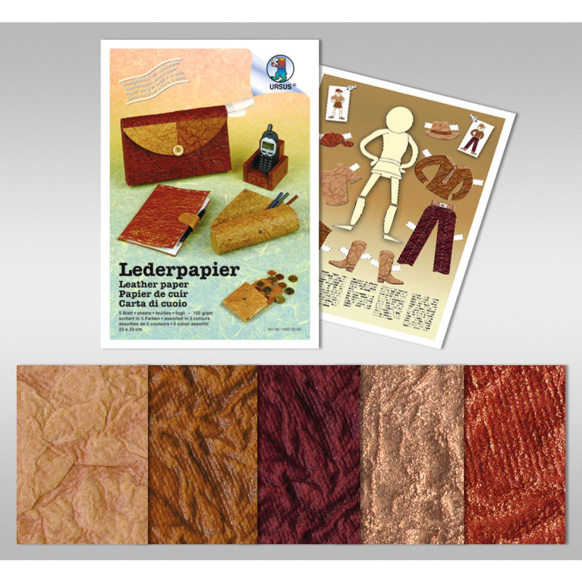 Lederpapier 250 g/qm 50 x 70 cm - 5 Bogen